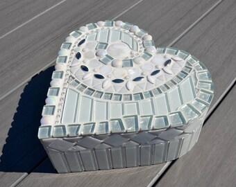 White glass heart shaped mosaic box