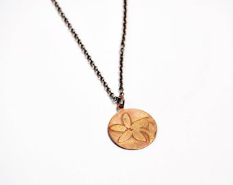Etched Flower Necklace in Oxidized Copper - Flower Necklace, Flower Jewelry, Flower Pendant, Floral Necklace, Floral Jewelry, Valentines Day