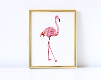Flamingo Art Print - Collage Illustration Print - Home Decor Print