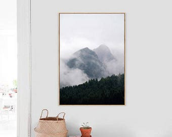 Mountains Wall Art Print ,Foggy forest,  Printable Photo Poster, Instant download