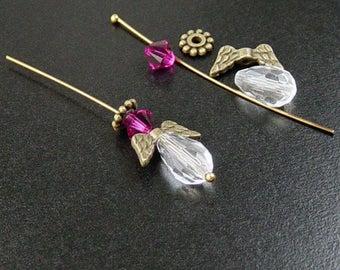 Guardian Angel 10 sets Findings Kit Antique Bronze 5 Piece Glass Swarovski Crystal Findings Kit Earring Charm (1016kit50z1)