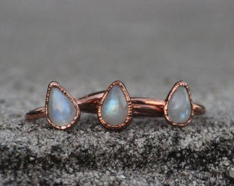 Rainbow Moonstone Ring // Copper Jewelry // Electroformed Ring // June Birthstone // Crystal Jewelry