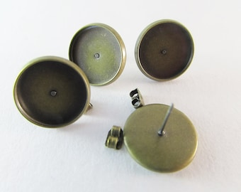 Earstud setting antique bronze 14mm tray