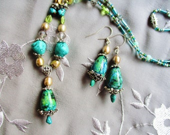 Turquoise necklace earring set, Bohemian gypsy silver turquoise, peridot, crystal, freshwater pearl necklace earring set