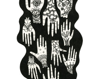 Black and White Patterned Hands - Archival Print From Original Drawing