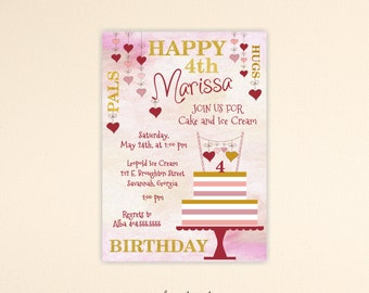 Girls Birthday Invitation, Glitter Girls Birthday Party, 1st, 2nd, 3rd, 4th, 5th, 7th, Kid Birthday Invitation, digital, K9002