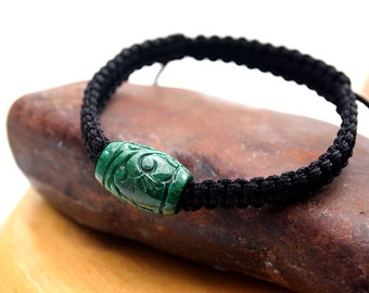 Unisex Bracelet GENUINE Jade Bracelet Adjustable Bracelet Slide Bracelet Yoga Zen Bracelet Men's Gift Gift for Dad Boyfriend Green Jade