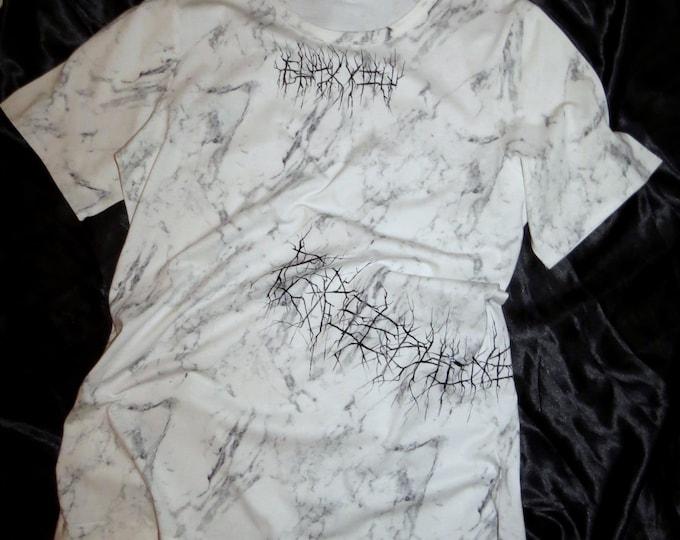 FU** printed white marble T-shirt