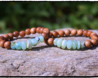 Moss Green Peruvian Opal Sandalwood Stretch Bracelet...Beach Bohemian Yoga Zen Fragrant Sandalwood Jewelry