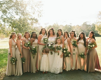 Earthy Mismatched Bridesmaids- Octopus Infinity Convertible Wrap Gown- Choose from over 55 colors