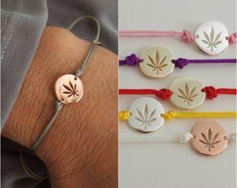 Marijuana disc bracelet - cut out cannabis bracelet - adjustable  bracelet  - stoner girl - cannabis friendly - stoner gifts