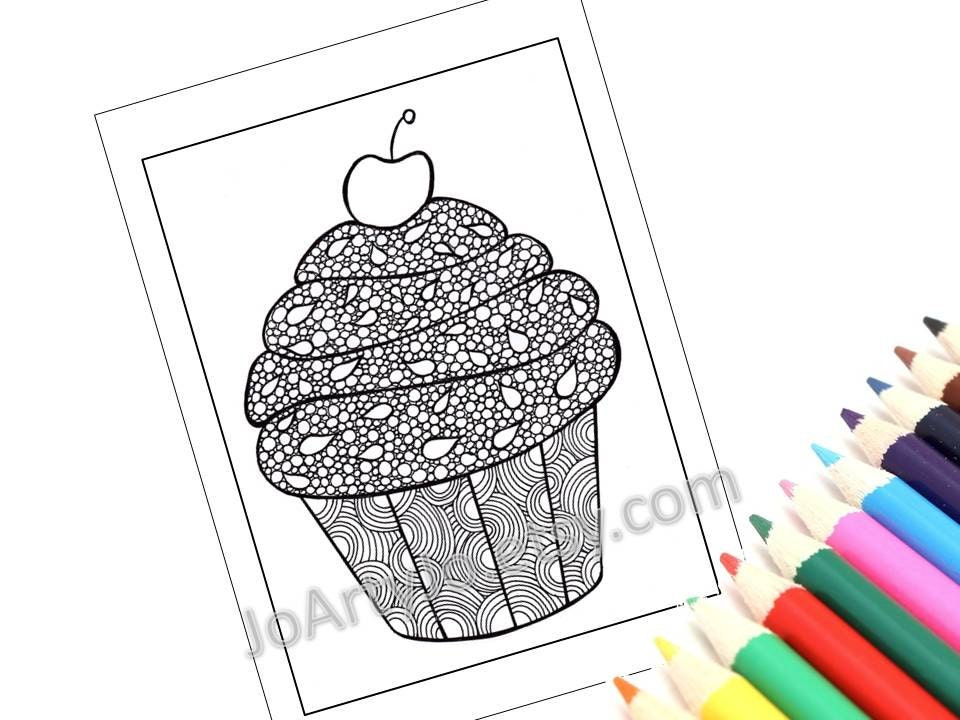 Zentangle Inspired Printable Cupcake Coloring Page Zendoodle