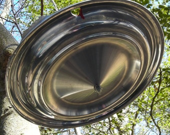 Eco-Friendly Red Bird Feeder - Hubcap Hanging Birdfeeder - Recycled Garden Decor - Summer Outdoors