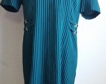 Vintage 1970s Green Black Striped MISS DORBY Evening Dress Zipper 50/50 Poly/Cotton Blend