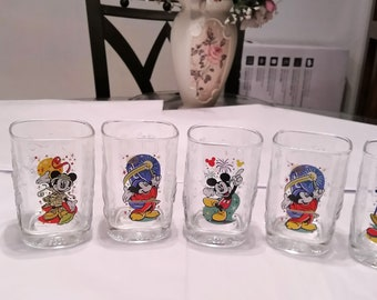 Mickey Mouse Vintage Set of 6 Disney Millenium Glasses