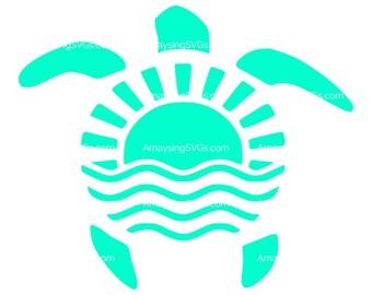 SVG Sea Turtle svg Sun svg Wave svg Summer Turtle svg Sea Wave svg Beach svg
