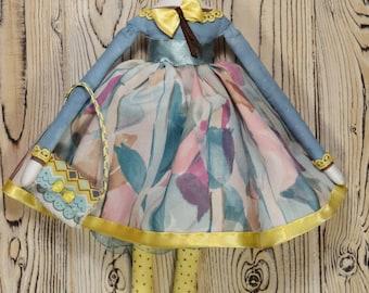 Cute Tilda ragdoll little girl doll cloth doll textile doll fabric doll rag doll small textile doll handmade doll stuffed doll gift doll