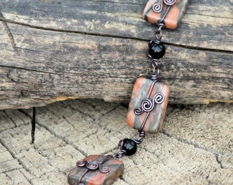 Copper Wire Wrapped Canyon Marble and Black Agate Bracelet