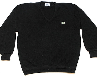 Vintage Izod Lacoste black croc acrylic knit cardigan sweater size Medium