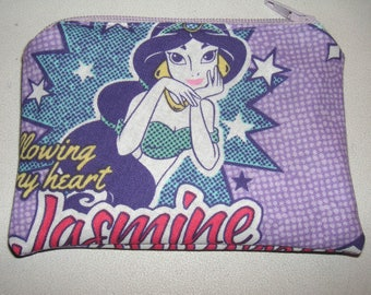 Princess Jasmine Aladdin handmade fabric coin change purse card holder