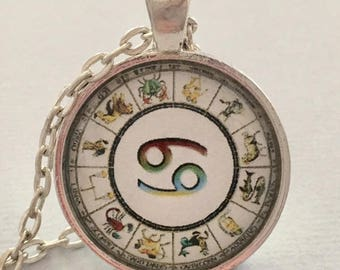 CANCER glass pendant necklace, Astrology necklace, Cancer jewellery, Silver astrology necklace