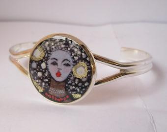 Silver brass bracelet comic Mazel misses pintent and resin