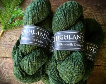 Worsted weight wool yarn - Highland wool yarn, Cypress, green yarn, wool knitting yarn, crocheting yarn, worsted wool