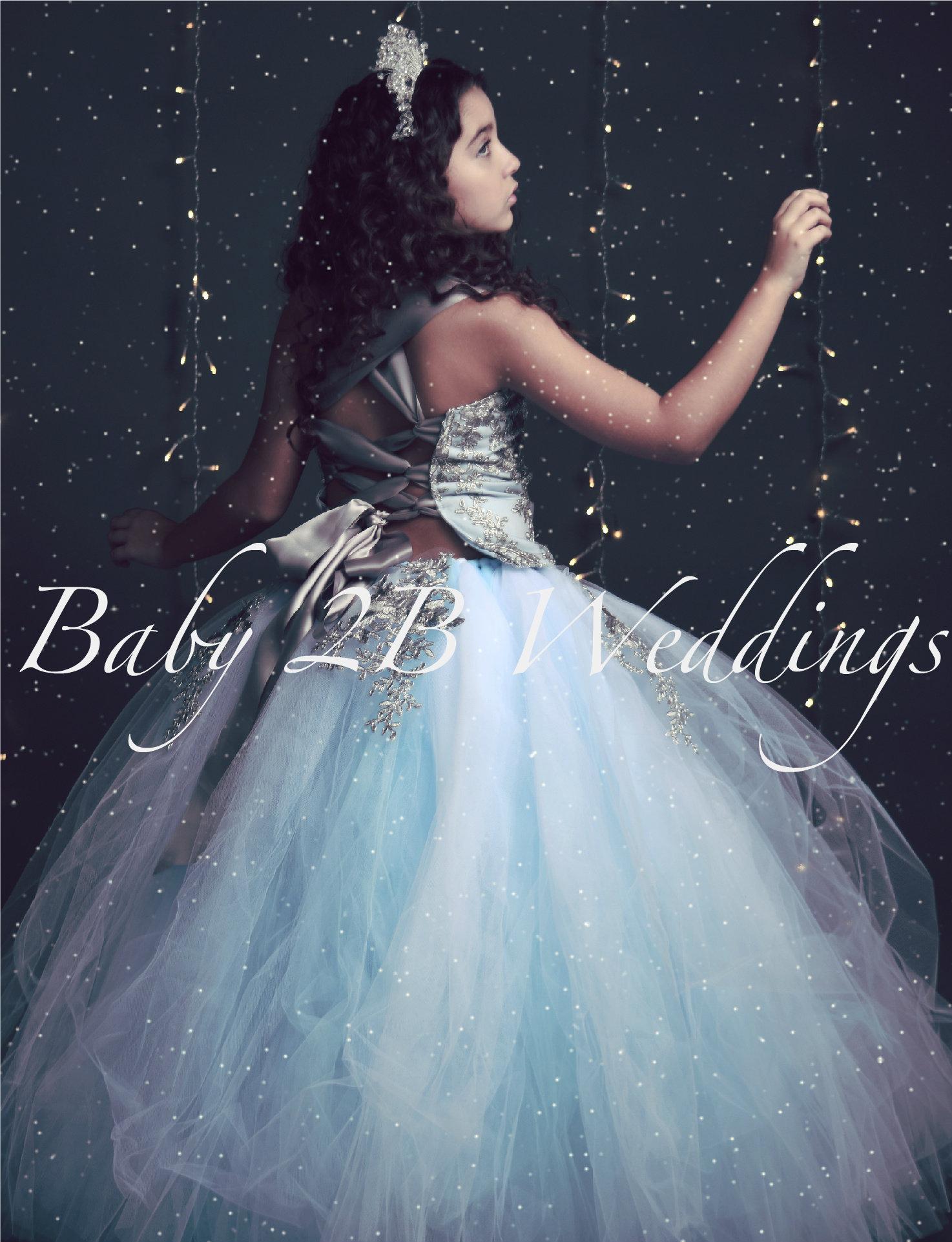Blue Dress Silver Dress Flower Girl Dress Elsa Style Princess Dress ...