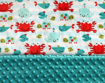 Minky Baby Blanket - Aquatic Theme/Teal Minky Dot Baby Blanket - Baby Shower Gift - Gender Neutral - Baby Gift - Swaddle - Cuddle - Soft