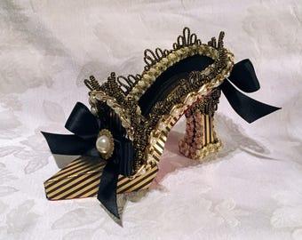 Queen Elizabeth I High Heel Paper Shoe Fine Art Collectible Sculpture, One of a Kind