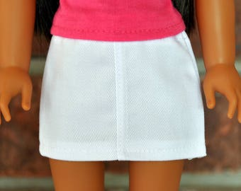 White Mini Skirt  made to fit Wellie Wishers Doll Clothes 14.5 Inch Doll Clothes