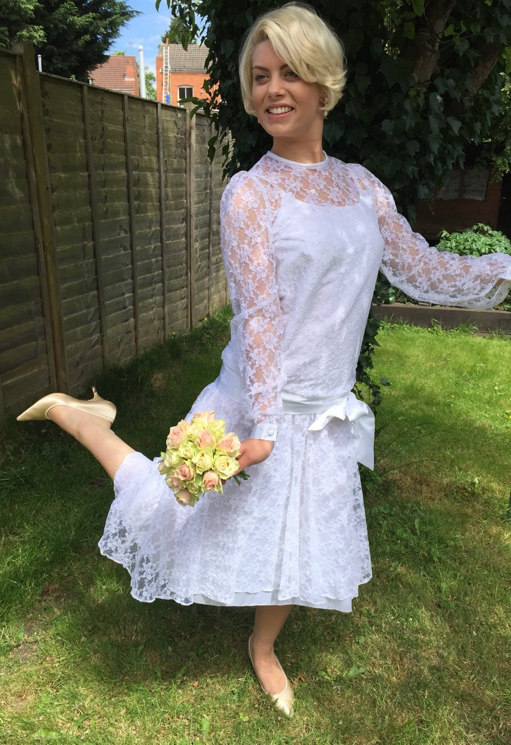 1920s style vintage lace wedding dress white 1980s drop waisted ...