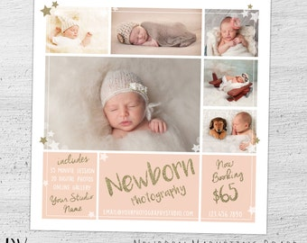 Newborn Photography Marketing Board, Newborn Mini Session, Photoshop Template for Photographers, Newborn Marketing, Baby  - 02-003-MB-S