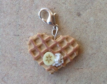 Waffle Heart with banana and cream Charm, Necklace pendant