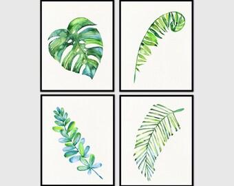 Tropical leaf Print, Tropical Leaves, Tropical Wall Art, Tropical Art, Monstera Leaf Print, Set of 4 Prints, watercolor Wall Art, Wall Decor