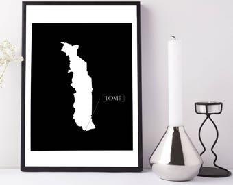 Minimal Togo Capital Map Downloable Printable Wall Art | Black | 4x6, 8x10, 11x14