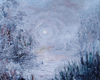 NIght Light, original oil painting on canvas, by Bonnie Kat, surreal, impressionistic, night, moonlit, magical, landscape