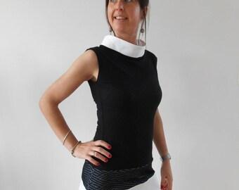 Women's trapezoid cut short dress, original, black, white, by Mesketa