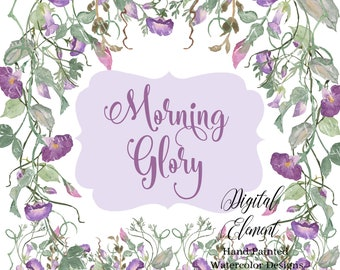 Clip-art Flowers Watercolor Morning Glories Lavender Flower Clip-art  Lilac Flowers, Spring Floral Graphic Designs. No. WC107