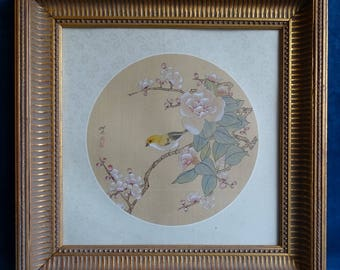 Chinese painting on side of a canary