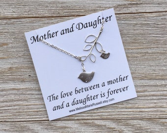 SALE - Matte Silver Mom & Baby Bird w/ Branch  Lariat Necklace, handmade jewelry, mother's day, birthday, baby shower gift, Christmas, mom