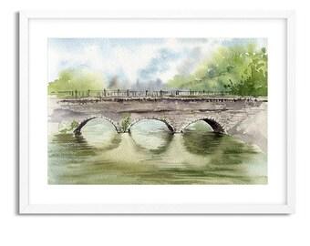 Bridge over river / Watercolor Landscape / Digital Art Print / Wall Art / Instant Download Print