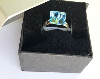 Adjustable 925 silver ring made with Swarovski Crystals 8 mm fancy cube aquamarine