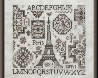 Quaker Eiffel – counted cross stitch chart. French chart to work in monochrome using 3 tones of DMC thread. Eiffel Tower, Paris. Tour Eiffel