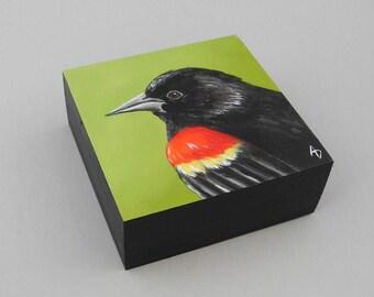 Red Winged Blackbird painting - original art block - blackbird art - black bird painting - crimson and black - dark wings - small bird gift