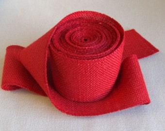 3 inch RED Burlap ribbon/ 5 yard piece