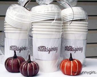 Happy Thanksgiving Paper Coffee Cups with Insulated Sleeve  {5 pack sleeve)