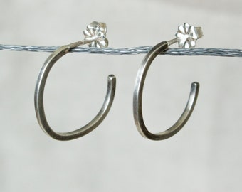Silver Square Hoop Earrings with Square Wire