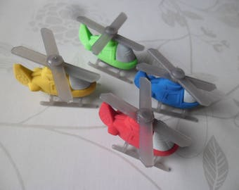 x 4 mixed multicolor helicopters fancy erasers