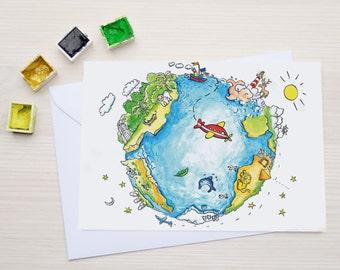 Globe postcard - illustration - kids